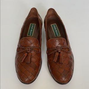 Cole Haan Shoes - COLE HAAN Brown Leather Woven Loafers